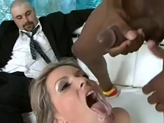 Dirty talking wife gets bbc while husband watches
